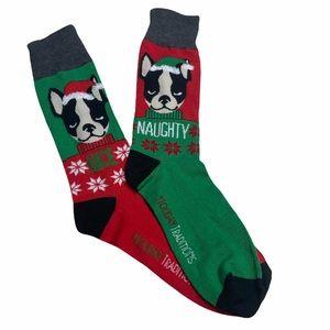 Christmas Naughty Nice Dog Fuzzy Funky Socks